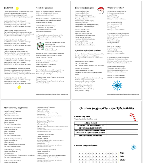 Christmas Songs for Kids, Lyrics and Activity Pages Printables