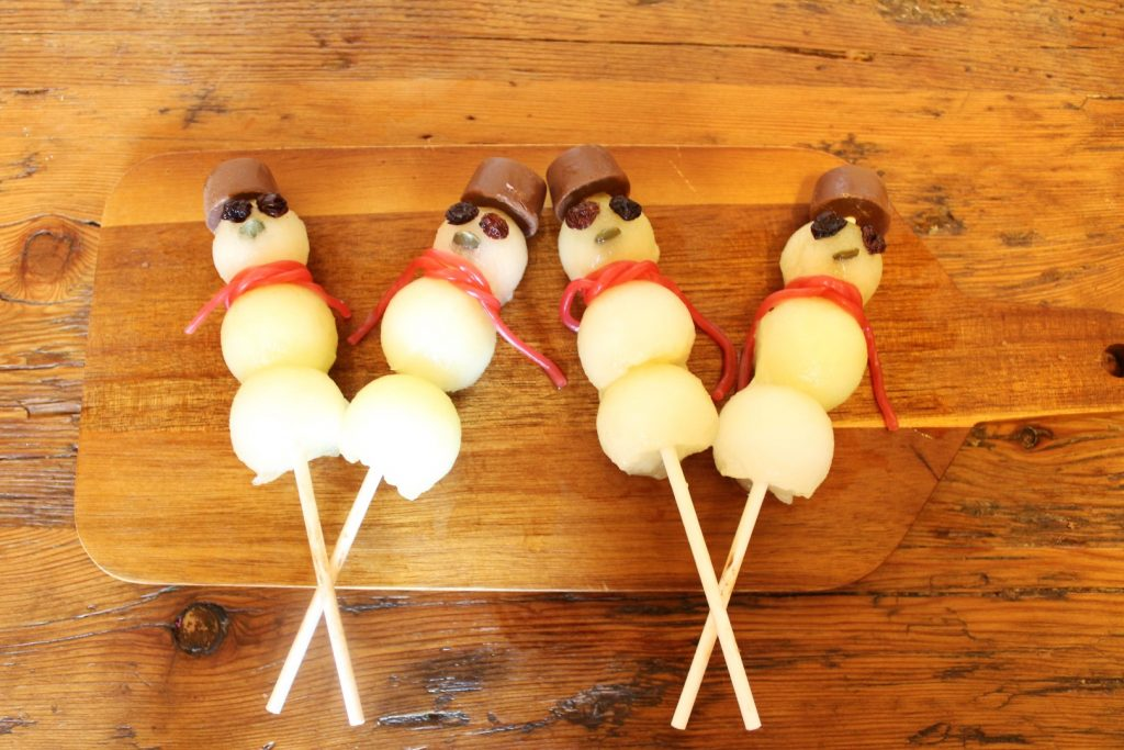 Christmas in July Treats - Melon Ball Snowmen