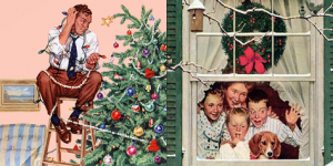 Norman Rockwell Christmas Vintage Art Facebook Pin