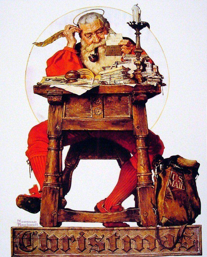 Norman Rockwell Christmas Vintage Art Santa