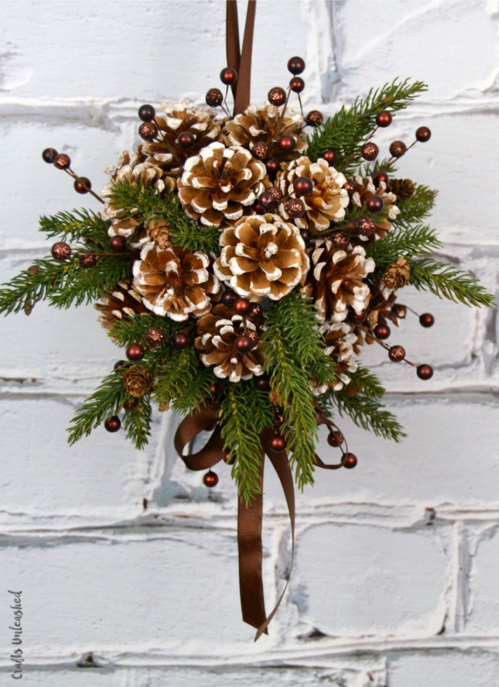 best pine cone crafts kissing ball