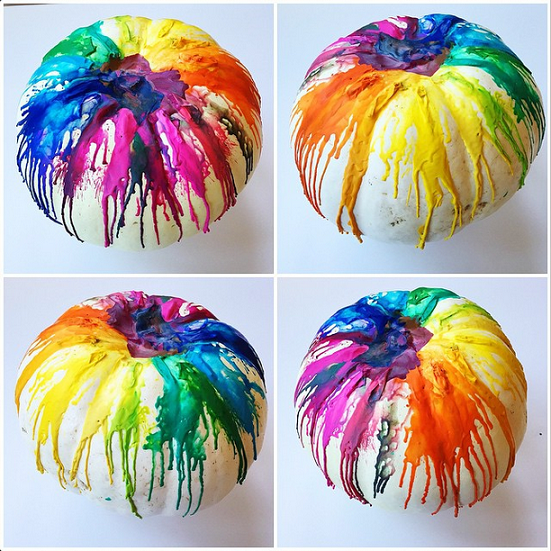 Easy Pumpkin Craft ideas on AllThingsChristmas.com - Melted Crayons