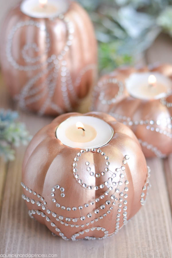 Easy Pumpkin Craft ideas on AllThingsChristmas.com - Rhinestone Candles
