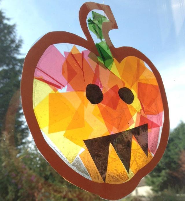 Easy Pumpkin Craft ideas on AllThingsChristmas.com - Suncatcher