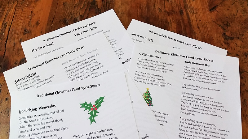 Traditional Christmas Carol Lyric Sheets