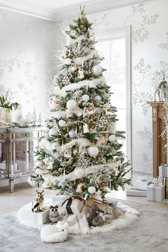 christmas tree decoration ideas snow 1 - Pictures Of White Christmas Trees Decorated