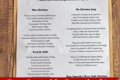list of classic christmas songs lyrics free printable download