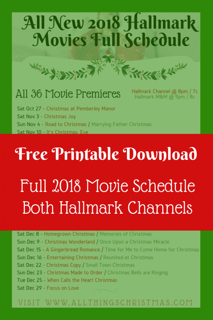 Hallmark 2018 Christmas Movies Full Schedule · All Things Christmas